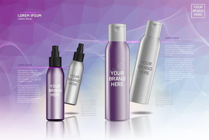 化妆塑料化妆产品组装 皇族释放例证