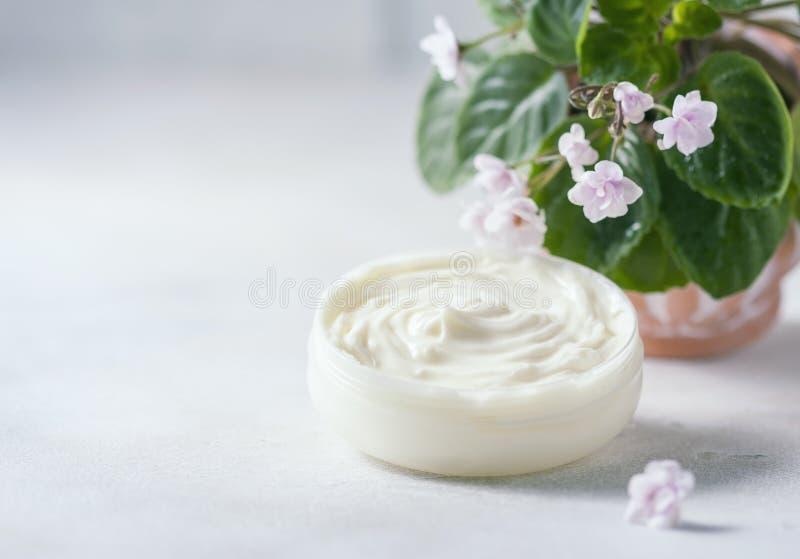 化妆奶油和开花的非洲堇,非洲紫罗兰 微型盆的植物 在一张白色背景木桌上 库存图片