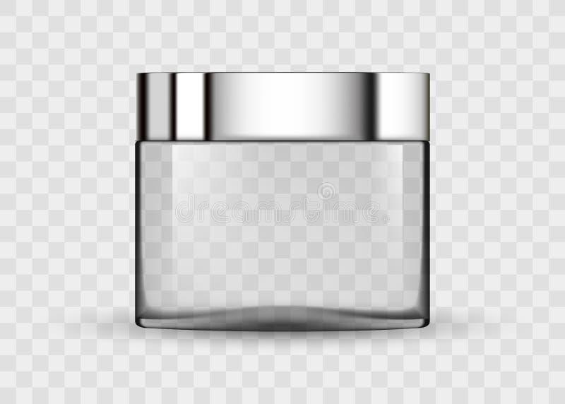 化妆奶油的玻璃透明瓶子 皇族释放例证