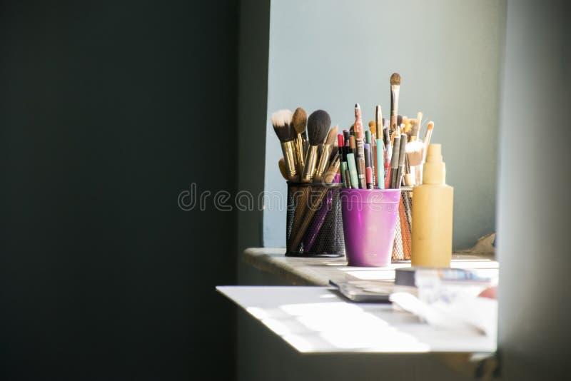 化妆师构成工具  免版税库存照片