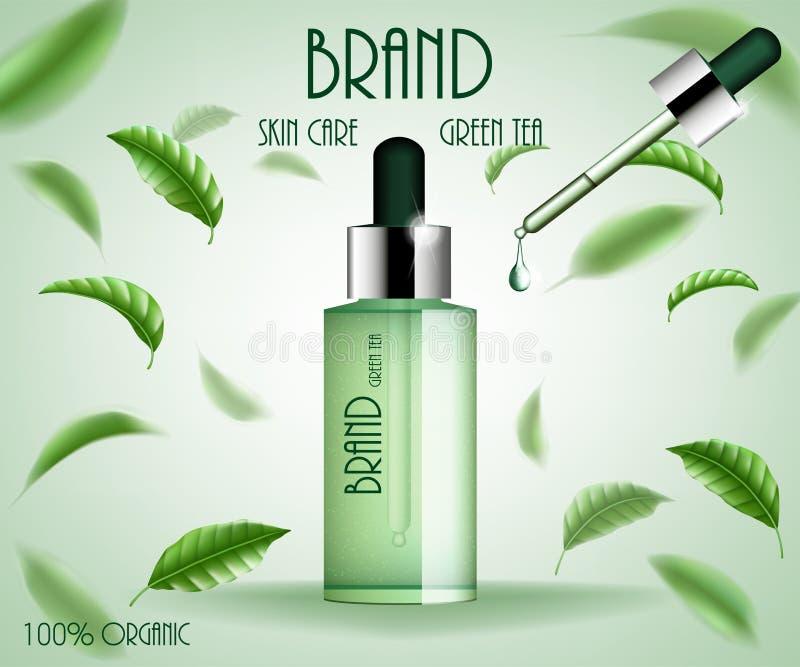 化妆广告模板治疗 绿茶皮肤护理血清瓶用茶叶和精华下落 3d化妆品 向量例证