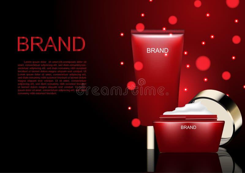 化妆广告模板,日夜提取乳脂与在黑暗的红色雪 向量例证