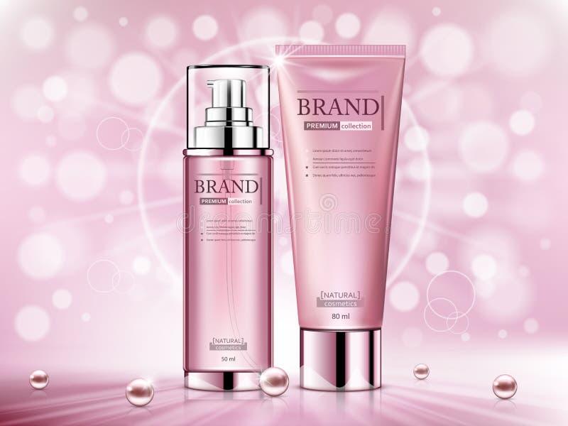 化妆广告模板,现实化妆瓶 库存例证