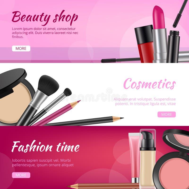 化妆横幅 与化妆用品产品唇膏眼影指甲油的广告飞行物书写粉末传染媒介例证 库存例证