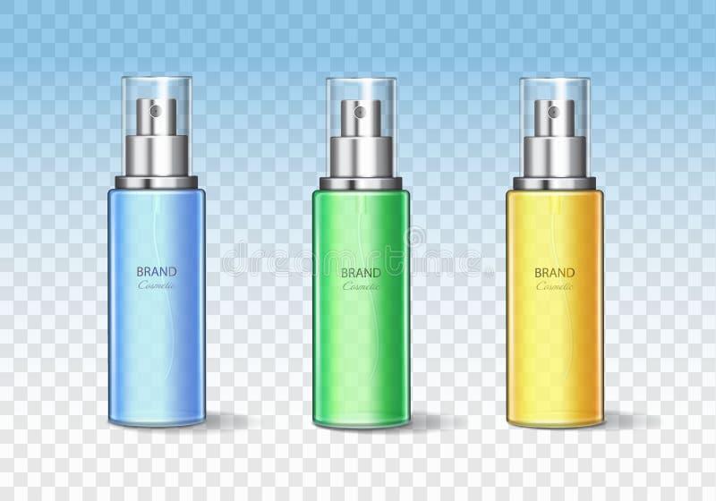 化妆瓶可能喷雾器容器设置 现实分配器传染媒介模板 向量例证