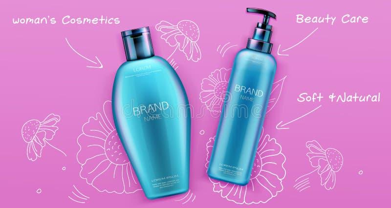 化妆瓶大模型、香波和调节剂 库存例证