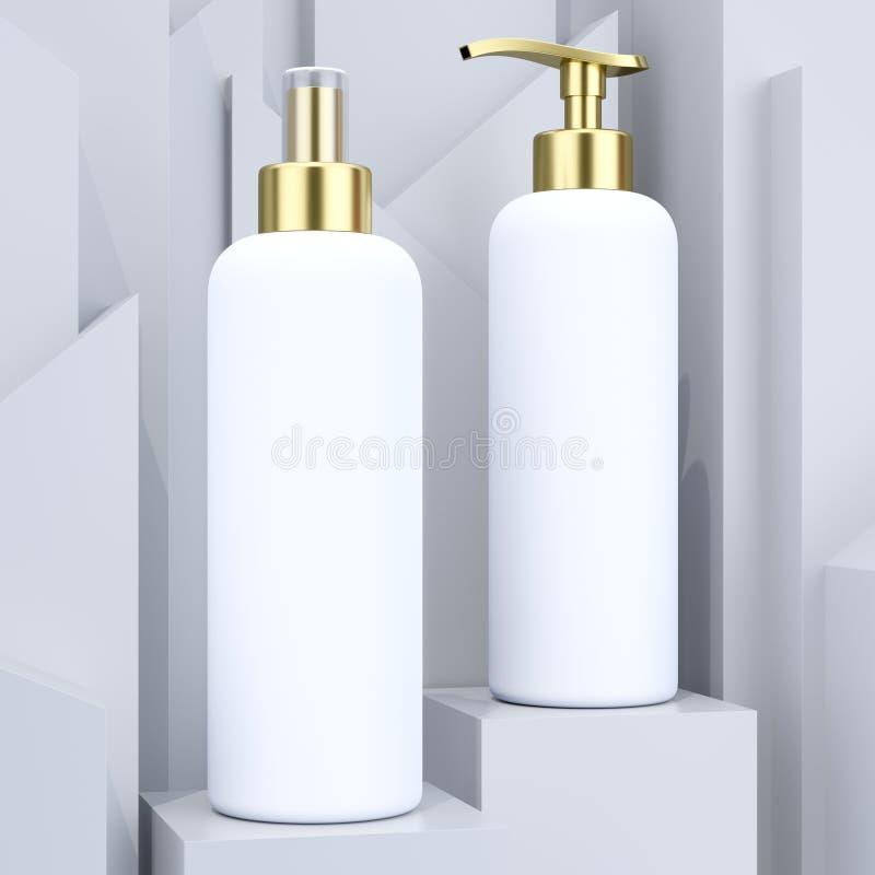 化妆瓶大模型,任何目的了不起的设计 成套设计元素 有机包装在灰色抽象背景 向量例证