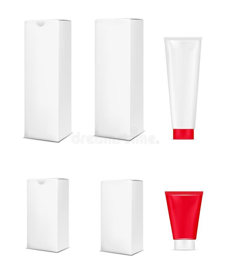 化妆用品、化妆水、牙膏和奶油的空白白色塑料管 纸板包装的模板 向量例证