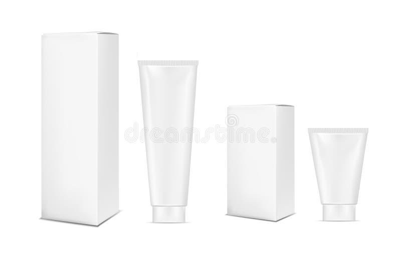 化妆用品、化妆水、牙膏和奶油的空白白色塑料管 纸板包装的模板 库存例证