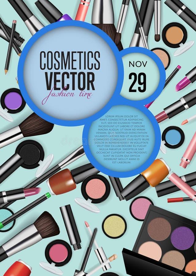 化妆用品传染媒介与日期和时间的电视节目预告海报 皇族释放例证