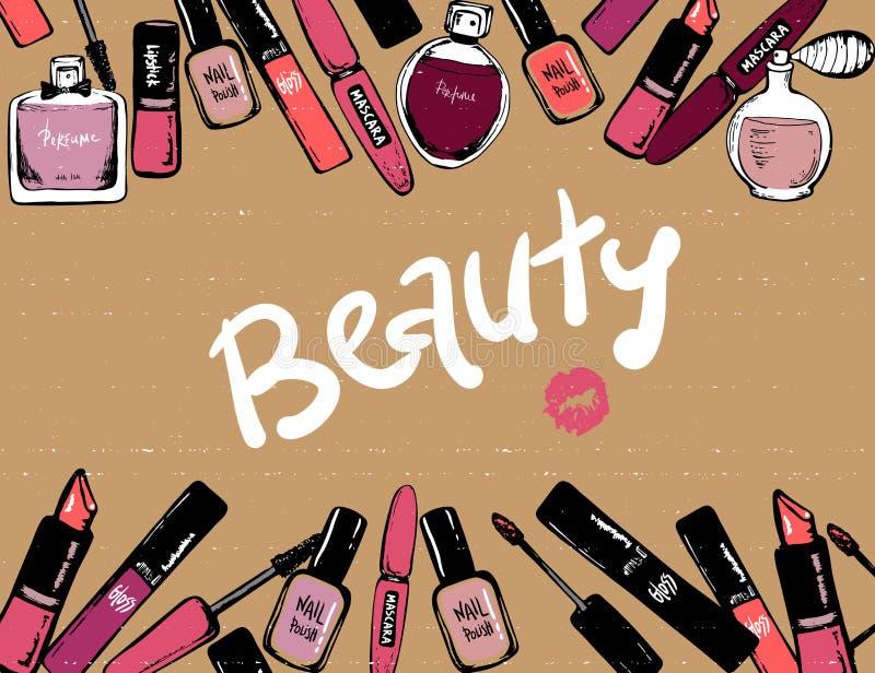 化妆用品元素美容品 框架手拉的化妆用品 ?? 时尚构成横幅 r 库存例证