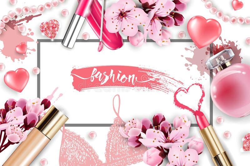 化妆用品和时尚背景与组成艺术家对象:嘴唇光泽,香水,桃红色珍珠成串珠状,闪耀的心脏 皇族释放例证