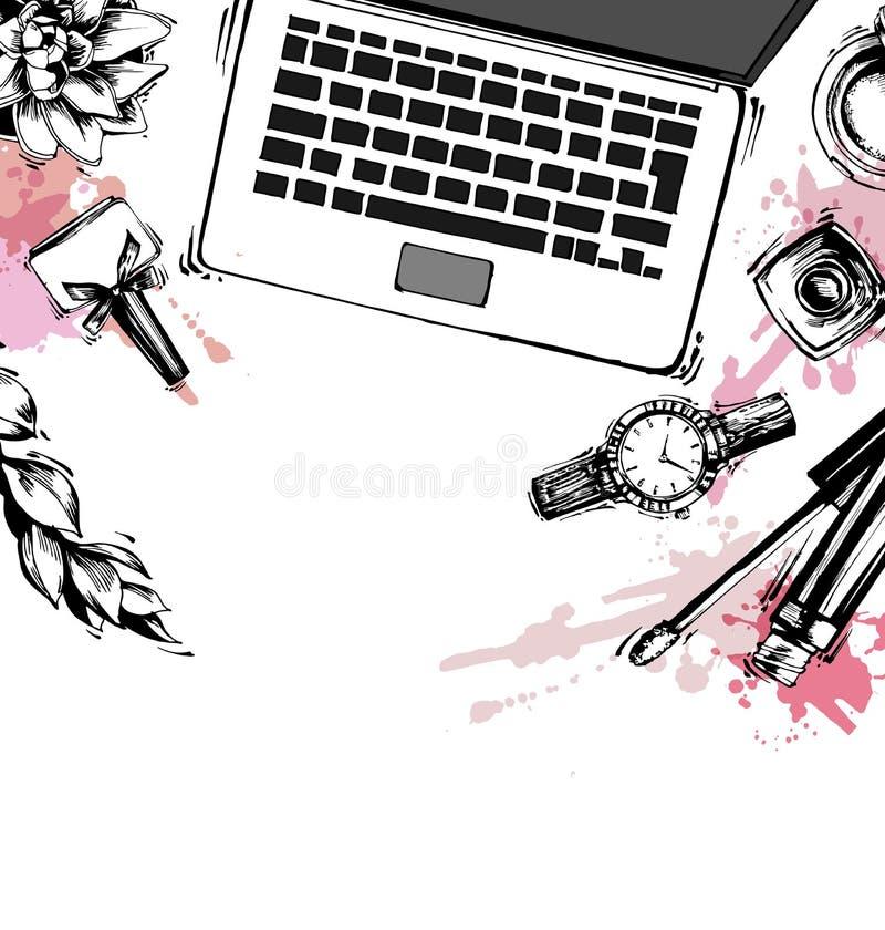 化妆用品和时尚背景与组成艺术家对象:唇膏,妇女的袋子,指甲油,妇女的手表,刷子 皇族释放例证