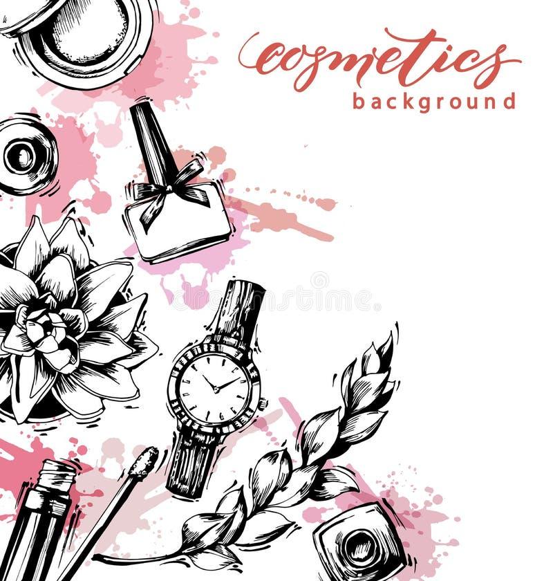 化妆用品和时尚背景与组成艺术家对象:嘴唇光泽,指甲油,妇女的手表,刷子 向量 向量例证