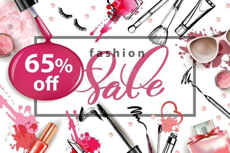 化妆用品和时尚背景与组成艺术家对象 概念玻璃现有量扩大化的销售额 向量例证