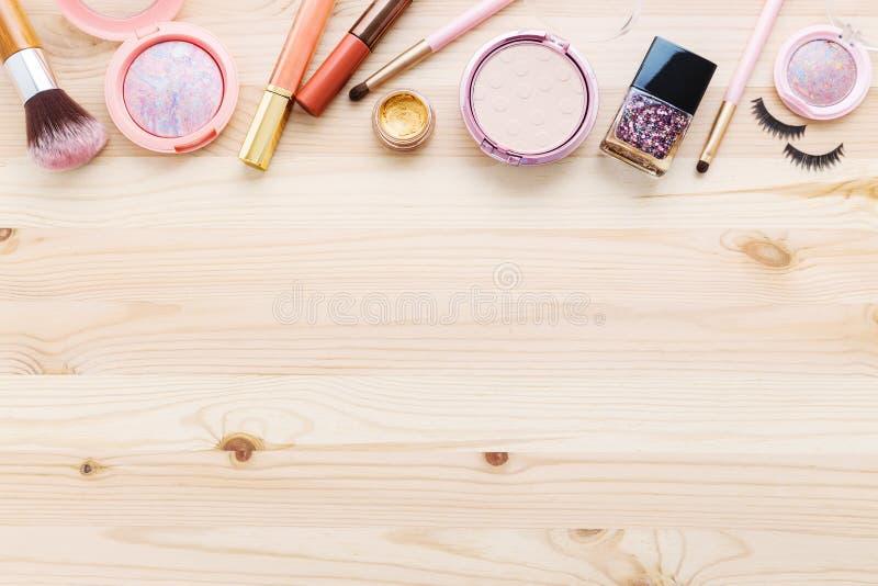 化妆用品和构成背景 库存图片