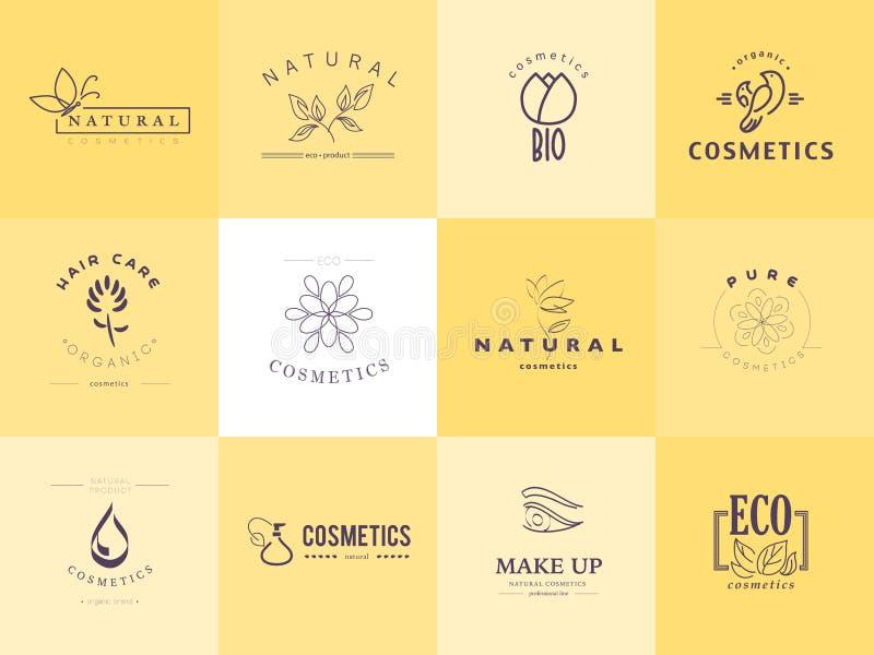 化妆用品商标身分的传染媒介汇集 向量例证