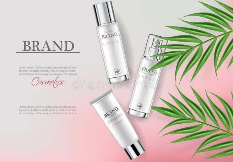 化妆用品奶油润肤霜现实水合作用的传染媒介 产品包装的大模型 有标签的详细的白色瓶 库存例证