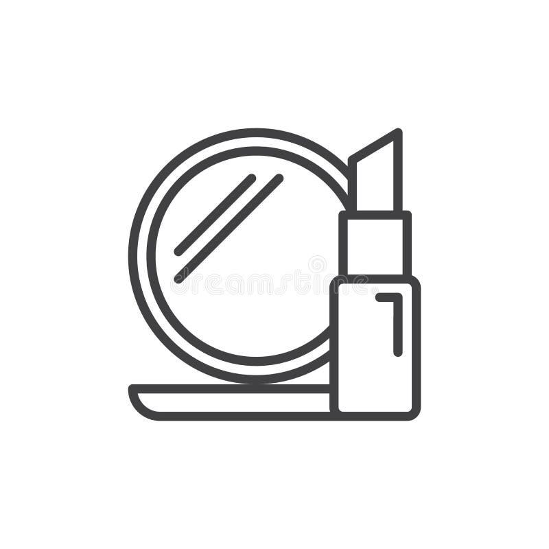 化妆用品排行象,概述传染媒介标志,在白色隔绝的线性样式图表 向量例证