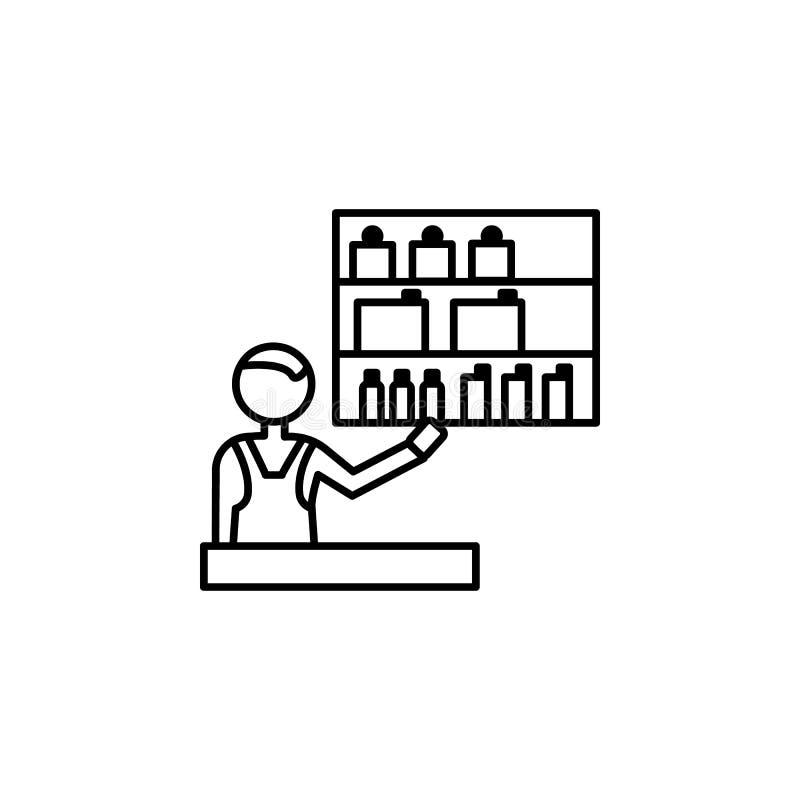 化妆用品推销员概述象 购物象的元素流动概念和网apps的 稀薄的线化妆用品推销员象能b 库存例证