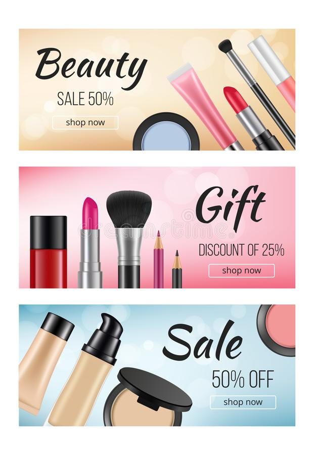化妆用品横幅  设计水平的横幅模板与妇女化妆用品的例证的 库存例证