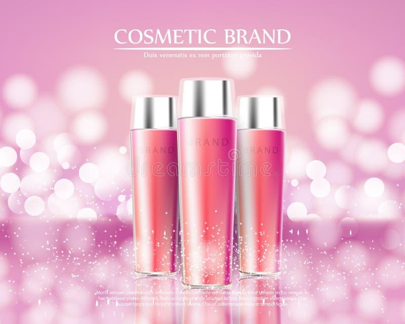化妆用品秀丽系列,优质身体广告喷洒护肤的奶油 设计海报的,招贴模板 皇族释放例证
