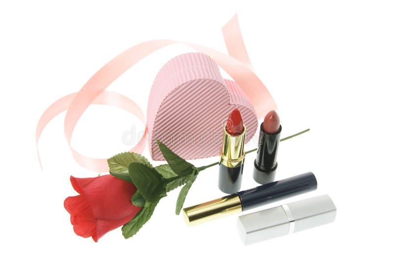 化妆用品红色上升了 免版税库存照片