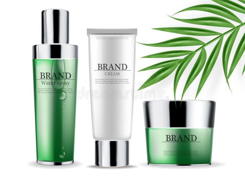 化妆用品绿化奶油并且喷洒现实被隔绝的传染媒介 产品包装的大模型 有标签设计的详细的瓶 库存例证