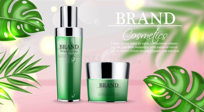 化妆用品绿化现实奶油和浪花润肤霜水合作用的传染媒介 产品包装的大模型 详细的瓶与 向量例证