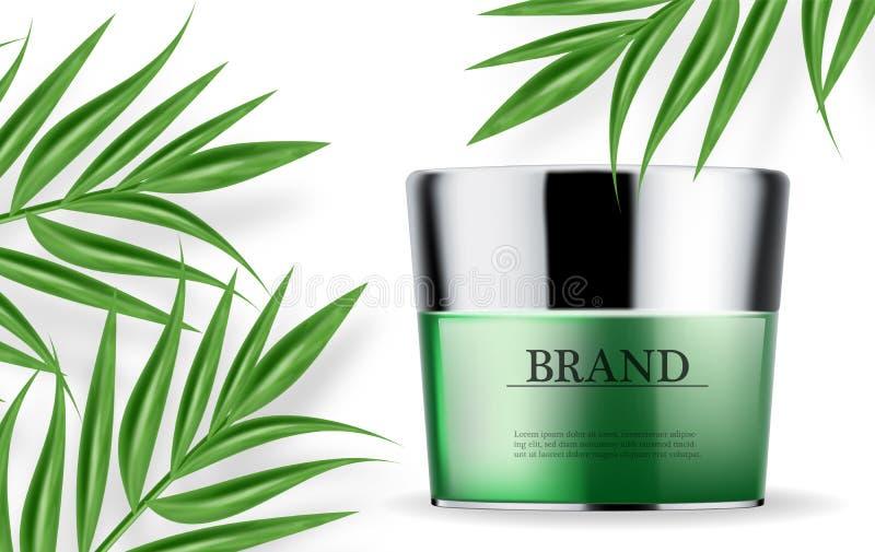化妆用品绿化现实奶油和浪花润肤霜水合作用的传染媒介 r 详细的瓶与 库存例证