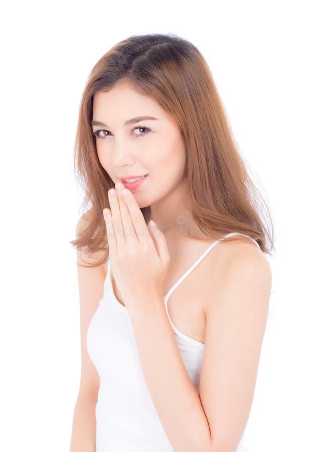化妆用品美女亚洲构成画象、女孩手接触的嘴唇和有吸引力的嘴和的微笑 免版税库存图片