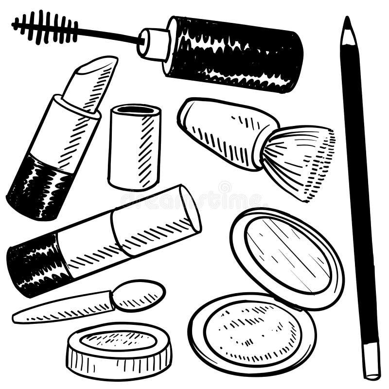 化妆用品草图 向量例证