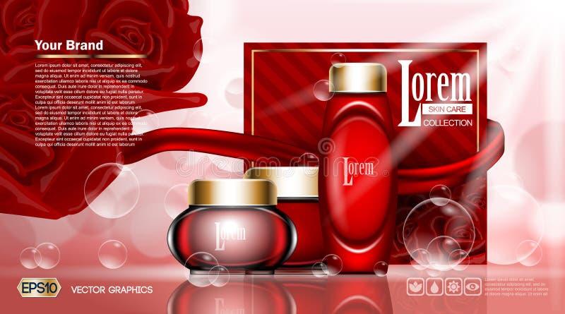 化妆用品集合广告模板,润湿的化妆水汇集盖子大模型 红色玫瑰开花芬芳 使目炫作用 库存例证