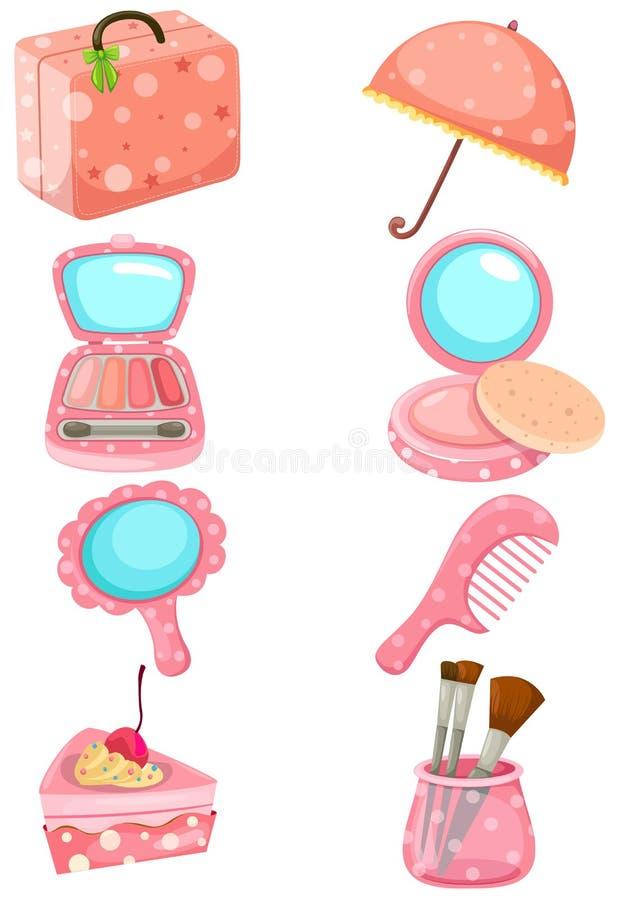 化妆用品集 皇族释放例证