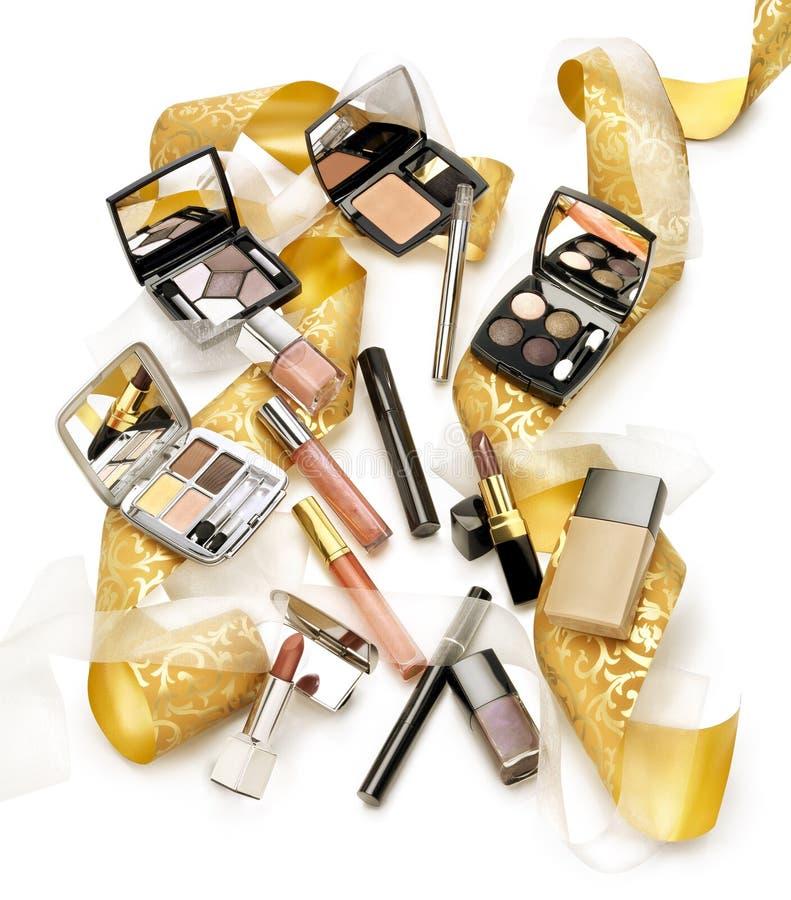 化妆用品静物画  圣诞节礼物概念 库存照片