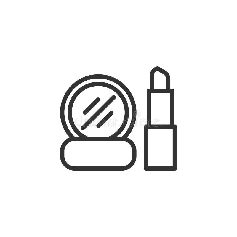 化妆用品,构成稀薄的线在白色背景隔绝的传染媒介例证 库存例证