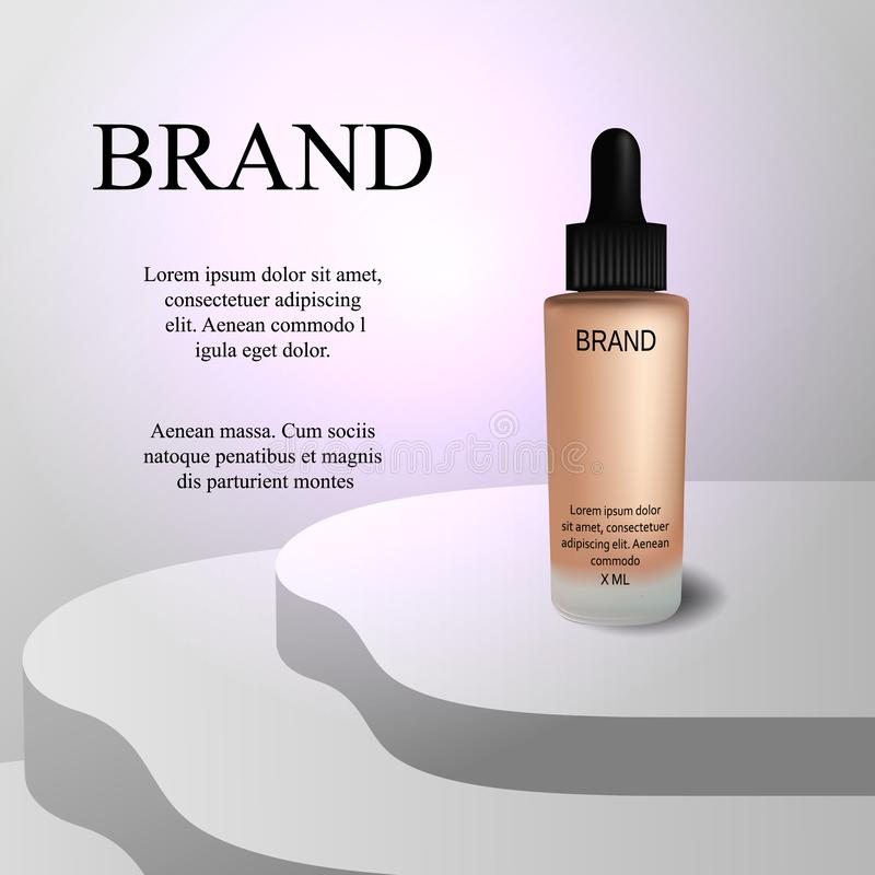 化妆用品,豪华奶油,在轻的背景的品牌,传染媒介3d 向量例证
