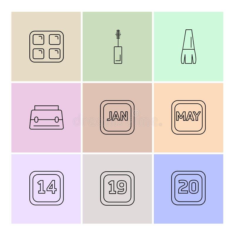 化妆用品, maskara,日历,几个月,化妆用品,家庭 库存例证
