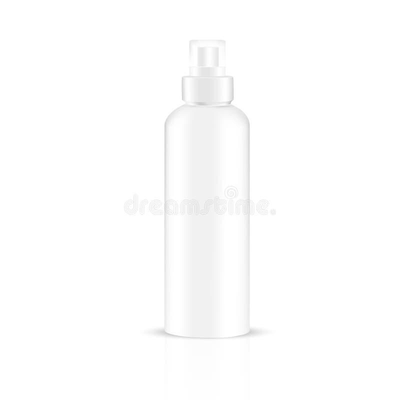 化妆用品/香水的白色灰色圆的瓶喷雾器 库存例证