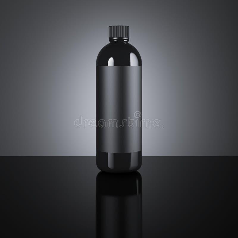 黑化妆空白的瓶 3d翻译 库存照片