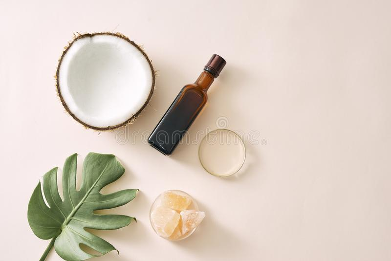 化妆自然skincare和精油芳香疗法 有机自然科学美容品 草本替代医学 免版税库存图片