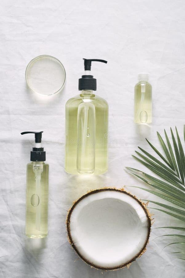 化妆自然skincare和精油芳香疗法 有机自然科学美容品 免版税库存图片