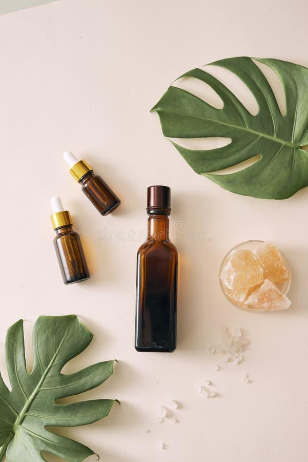 化妆自然skincare和精油芳香疗法 有机自然科学美容品 免版税库存照片