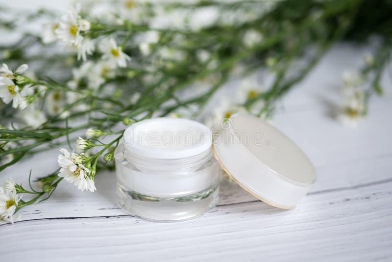 化妆自然skincare概念 有机自然美人产品 替代医学由草本做了 白色奶油色血清嘲笑 免版税库存图片