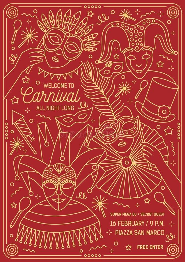 化妆舞会、狂欢节、节日或者党的海报、飞行物或者邀请模板与字符佩带欢乐 向量例证