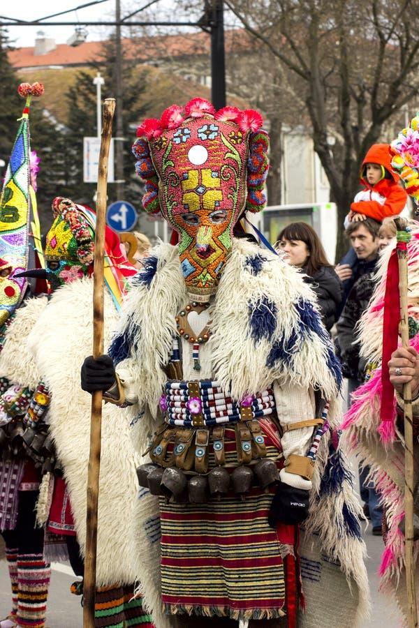 化妆舞会比赛Surva的节日在瓦尔纳,保加利亚 免版税库存图片
