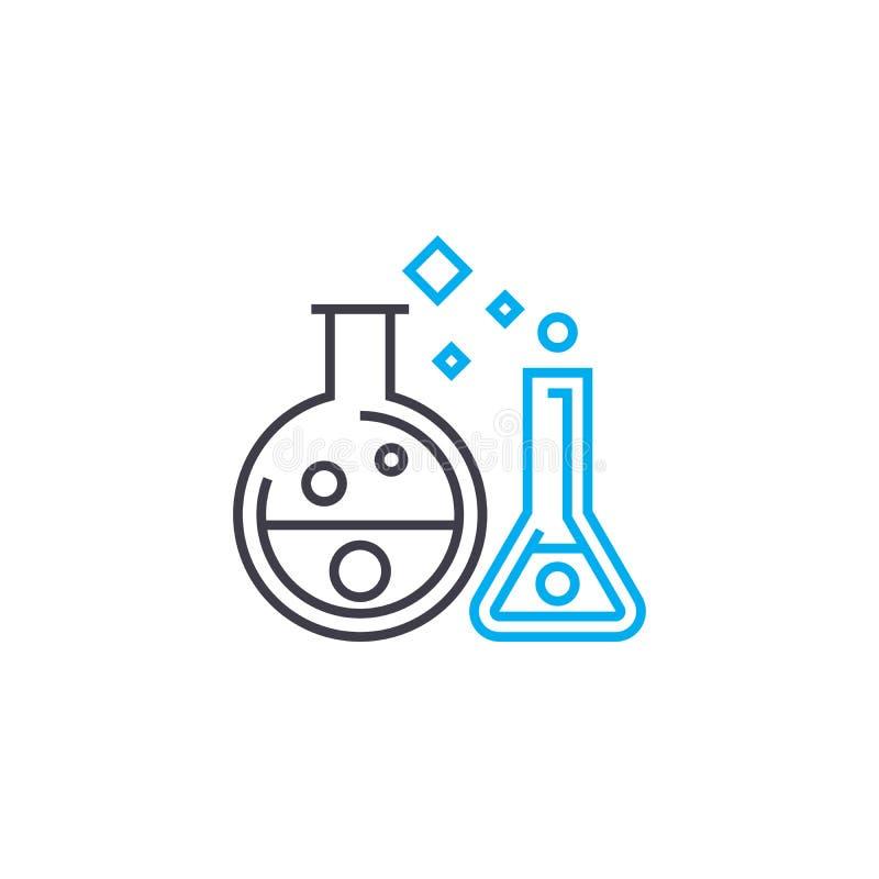 化学制品试验传染媒介稀薄的线冲程象 化学制品试验概述例证,线性标志,标志 库存例证