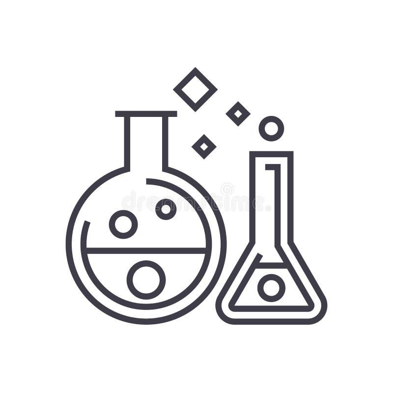 化学实验室,实验导航线象,标志,在背景,编辑可能的冲程的例证 向量例证