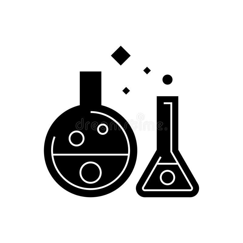 化学实验室-实验象,传染媒介例证,在被隔绝的背景的黑标志 皇族释放例证