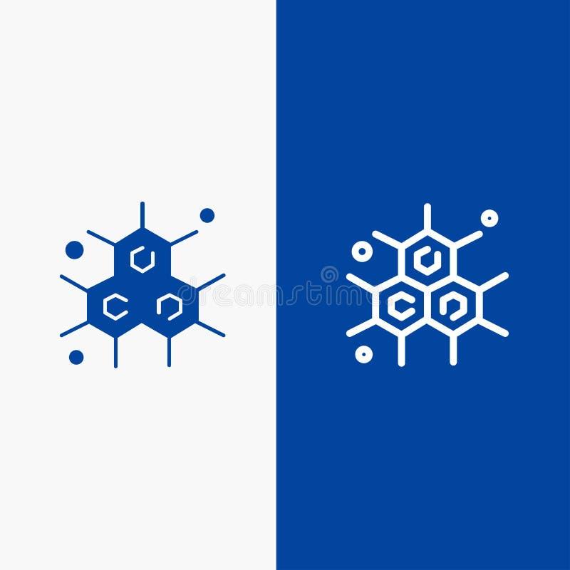化学家、分子、科学线和字形实体图标蓝色条幅线和字形实体图标蓝色条幅 向量例证